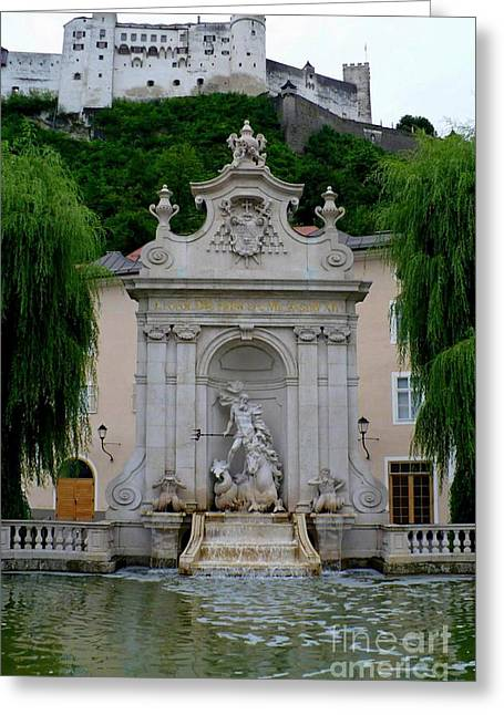 Salzburg Greeting Cards - Salzburg Castle with Fountain Greeting Card by Carol Groenen