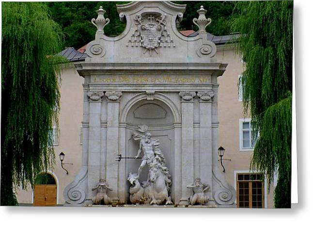 Salzburg Castle with Fountain Greeting Card by Carol Groenen