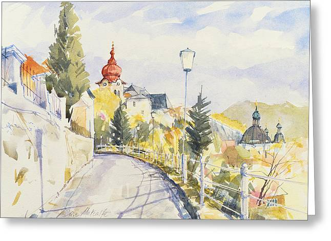 Mozart Greeting Cards - Salzburg Nonntal Wc On Paper Greeting Card by Clive Metcalfe