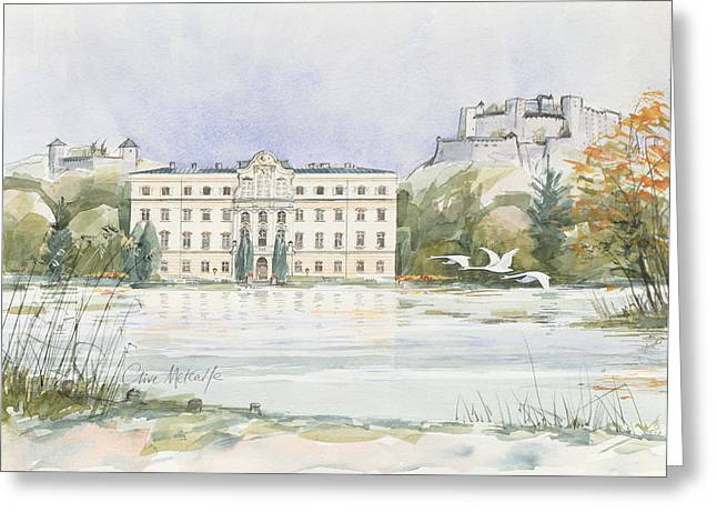 Fortress Greeting Cards - Salzburg Sound Of Music Wc On Paper Greeting Card by Clive Metcalfe