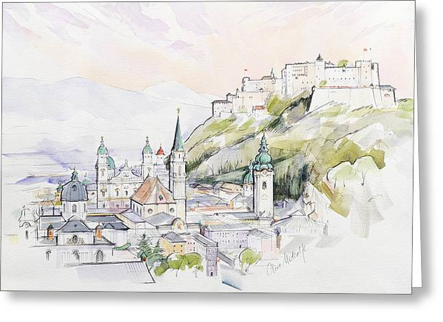 Nations Greeting Cards - Salzburg Sunrise  Greeting Card by Clive Metcalfe
