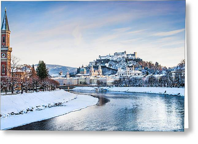 Salzburg Greeting Cards - Salzburg Winter Fairy Tale Greeting Card by JR Photography