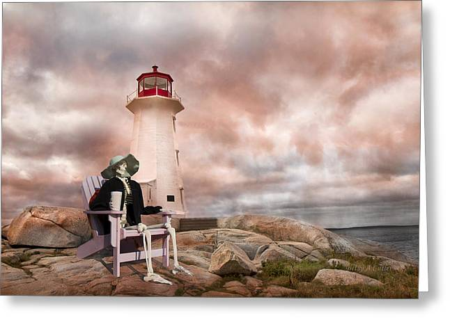 Cranium Greeting Cards - Sam and an Evening at Peggys Cove Greeting Card by Betsy C  Knapp