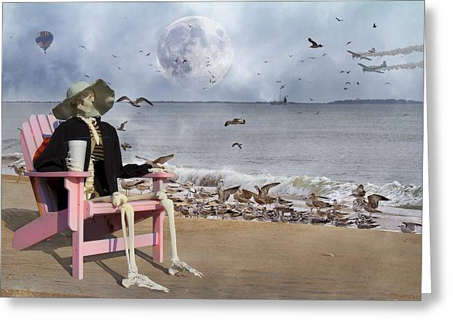Moon Beach Digital Art Greeting Cards - Sam and the Seagulls Greeting Card by Betsy A  Cutler