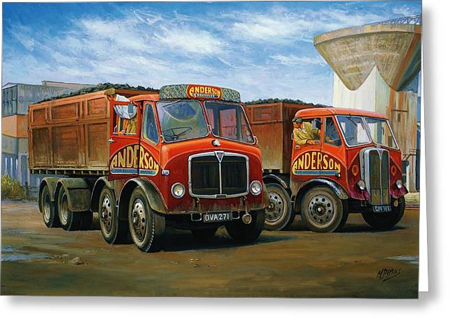Lorries Greeting Cards - Sam Andersons AEC tippers. Greeting Card by Mike  Jeffries