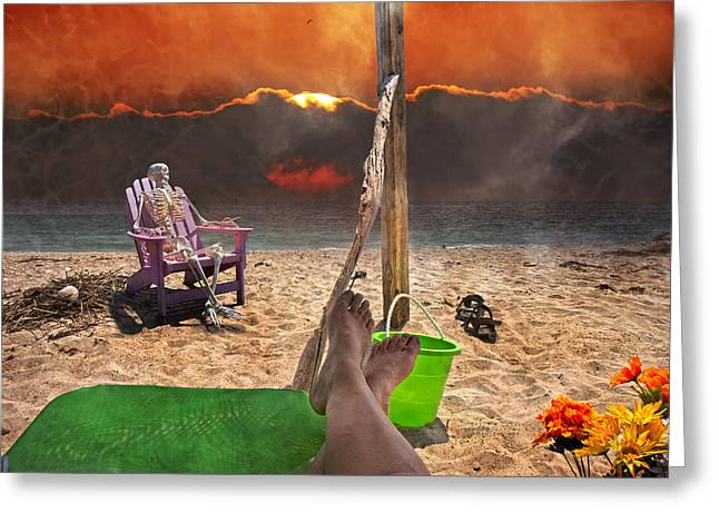 Bone Structure Greeting Cards - Sam Enjoys a Beach Evening Greeting Card by Betsy C  Knapp