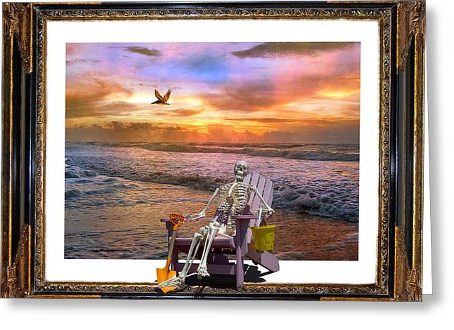Topsail Island Greeting Cards - Sam Hangs out with the Sunrise Greeting Card by Betsy C  Knapp
