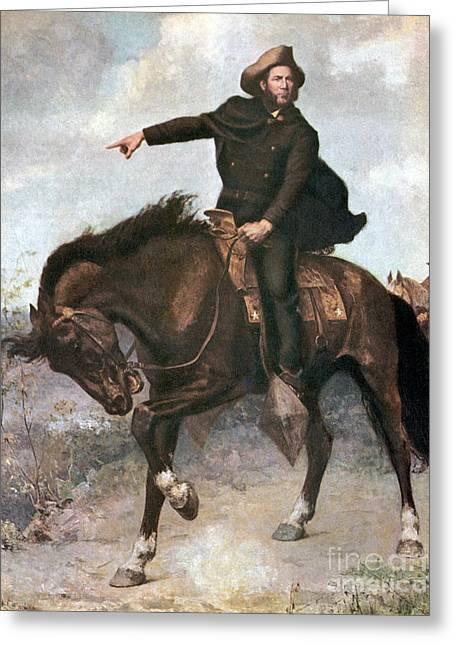 Texas Revolution Greeting Cards - Sam Houston At Battle Of San Jacinto Greeting Card by Photo Researchers