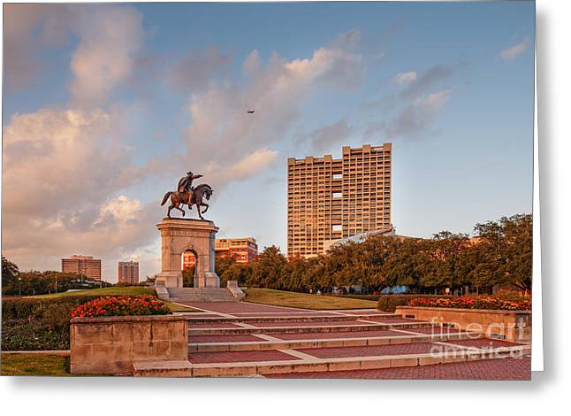 Main Street Greeting Cards - Sam Houston Statue bathed in Golden Hour Light - Hermann Park - Houston Texas Greeting Card by Silvio Ligutti