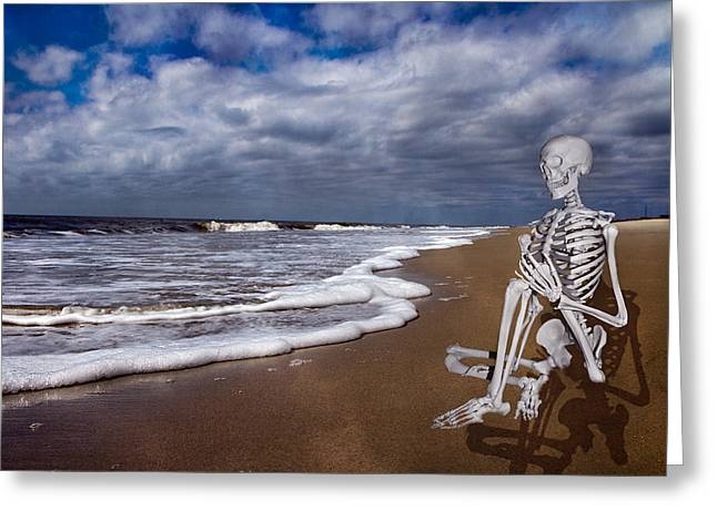 Bone Structure Greeting Cards - Sam Looks to the Ocean Greeting Card by Betsy C  Knapp