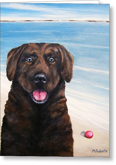 Chocolate Lab Greeting Cards - Sam Greeting Card by Mark Alan Roberts