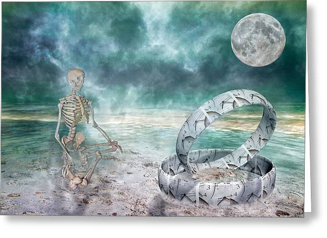 Foggy Day Greeting Cards - Sam Meditates with Time One of Two Greeting Card by Betsy A  Cutler