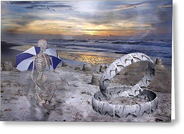 Foggy Ocean Greeting Cards - Sam Meditates with Time Two of Two Greeting Card by Betsy C  Knapp