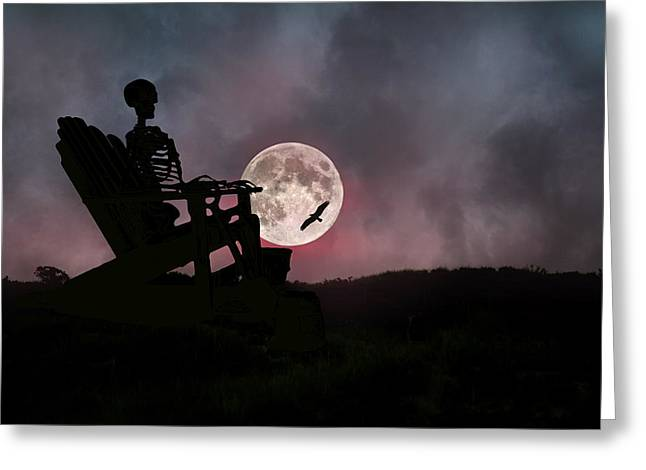 Human Being Greeting Cards - Sam Reasons with the Moon Greeting Card by Betsy C  Knapp