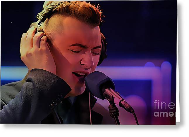 British Celebrities Greeting Cards - Sam Smith Art Greeting Card by Marvin Blaine