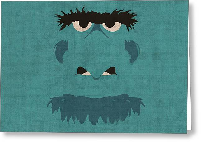 Sam Greeting Cards - Sam the Eagle Vintage Minimalistic Illustration on Worn Distressed Canvas Series No 005 Greeting Card by Design Turnpike