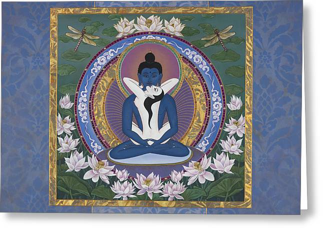 Recently Sold -  - Tibetan Buddhism Greeting Cards - Samantabadhra In the Beginning Greeting Card by Nadean OBrien