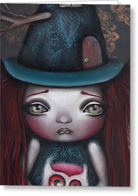 Pop Surrealism Paintings Greeting Cards - Samantha Greeting Card by  Abril Andrade Griffith