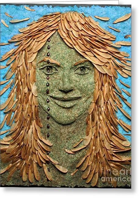 Relief Mixed Media Greeting Cards - Samara a wall hanging relief sculpture by Adam Long Greeting Card by Adam Long