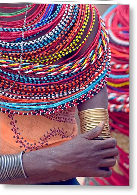 Arm Around Greeting Cards - Samburu Tribal Beadwork Greeting Card by Panoramic Images