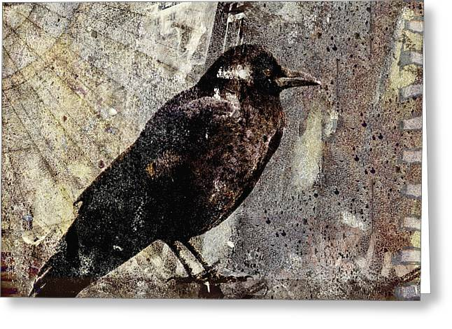 Crow Greeting Cards - Same Crow Different Day Greeting Card by Carol Leigh