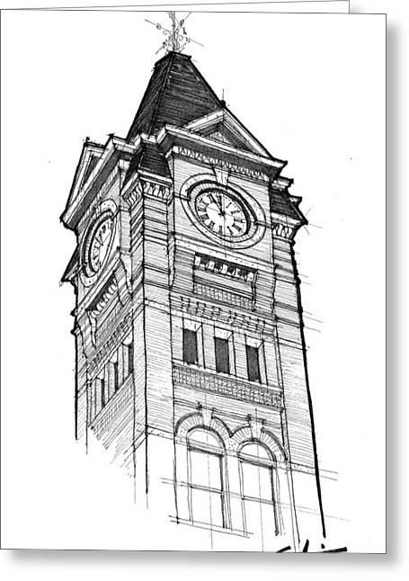 Toomers Corner Greeting Cards - Samford Hall Greeting Card by Calvin Durham