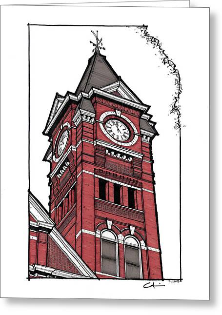 Sec Conference Greeting Cards - Samford Hall Clock Tower Greeting Card by Calvin Durham