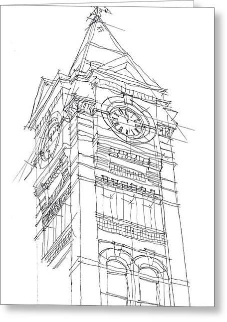 Toomers Corner Greeting Cards - Samford Hall Sketch Greeting Card by Calvin Durham