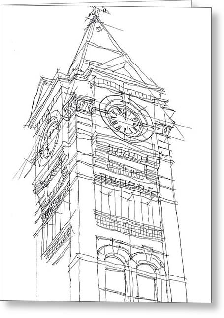 Toomers Corner Greeting Cards - Samford Hall Sketch Greeting Card by Calvin Durham