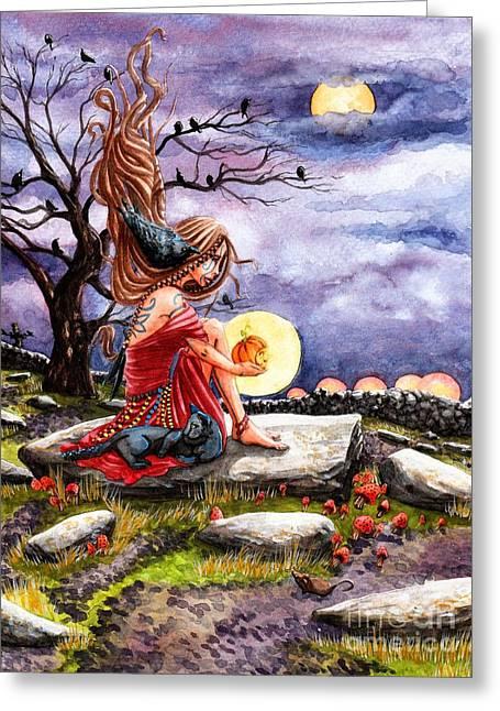 Samhain Greeting Cards - Samhain Greeting Card by Margaret Schons