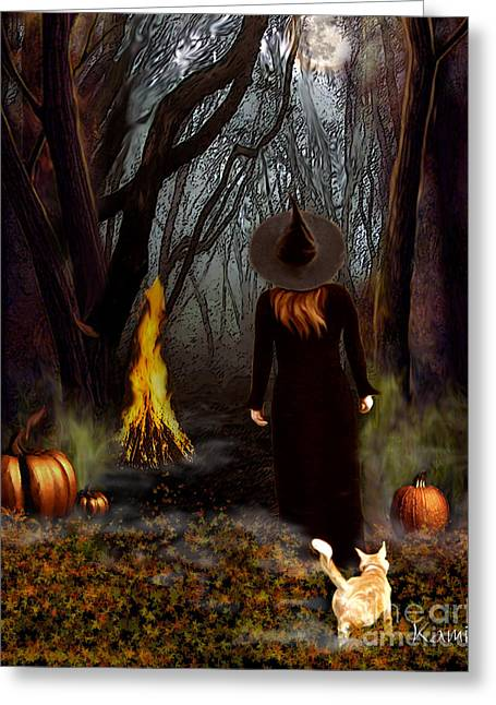 Harvest Moon Greeting Cards - Samhain Witch Greeting Card by Kami Catherman