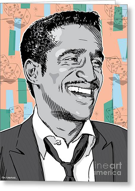 Rat Pack Greeting Cards - Sammy Davis Jr Pop Art Greeting Card by Jim Zahniser