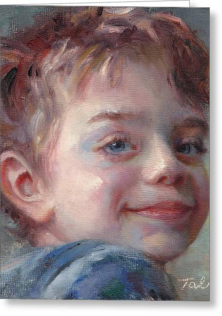 Survivor Art Greeting Cards - Sammy in Blue - portrait of a boy Greeting Card by Talya Johnson
