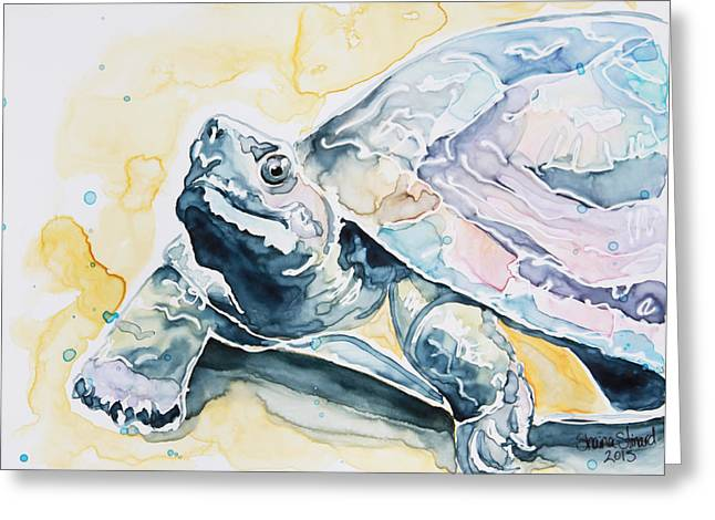 Yupo Paper Greeting Cards - Sammy the Turtle Greeting Card by Shaina Stinard