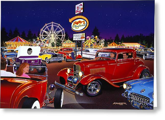 1929 Roadster Greeting Cards - Sammys Playland Greeting Card by Bruce Kaiser