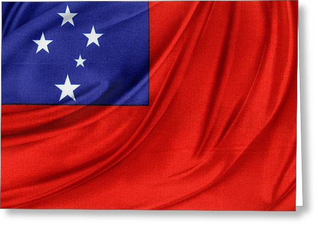 Textiles Photographs Photographs Greeting Cards - Samoan flag Greeting Card by Les Cunliffe