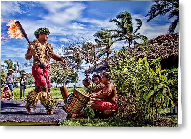 Skirts Greeting Cards - Samoan Torch Bearer Greeting Card by David Smith