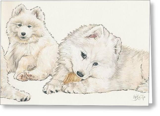 Working Dog Mixed Media Greeting Cards - Samoyed Puppies Greeting Card by Barbara Keith