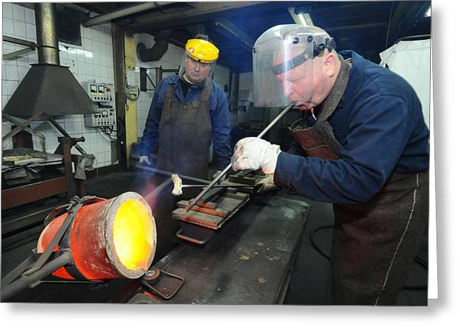 Smelter Greeting Cards - Sample of molten copper being taken Greeting Card by Science Photo Library
