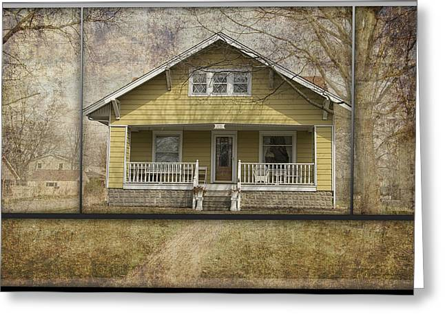 Residential Structure Greeting Cards - Sample Paneled Yellow Bungalow Greeting Card by Thomas Woolworth