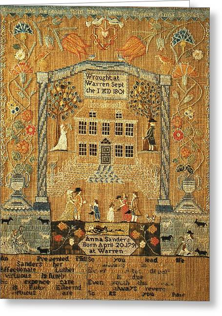 Collection Tapestries - Textiles Greeting Cards - Sampler Greeting Card by Anna Sanders