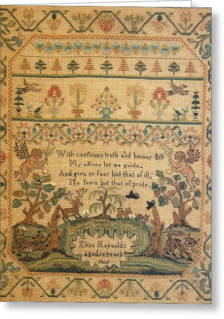 Cities Tapestries - Textiles Greeting Cards - Sampler Greeting Card by Eliza Reynolds