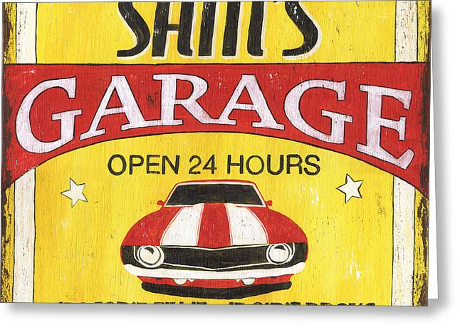 Family Car Greeting Cards - Sams Garage Greeting Card by Debbie DeWitt