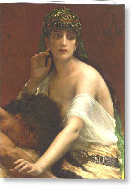 Fur Collar Greeting Cards - Samson and Deilah Greeting Card by Alexandre Cabanel