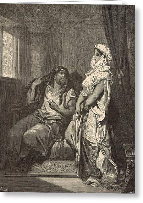 Adonai Greeting Cards - Samson and Delilah Greeting Card by Antique Engravings