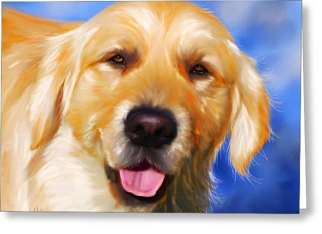 Dog Art Greeting Cards - Happy Golden Retriever Painting Greeting Card by Michelle Wrighton