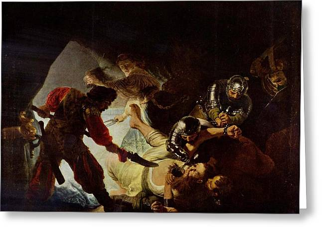 Storm Prints Paintings Greeting Cards - Samson and Delilah Greeting Card by Rembrandt