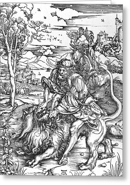 Tackle Drawings Greeting Cards - Samson slaying the lion Greeting Card by Albrecht Durer or Duerer