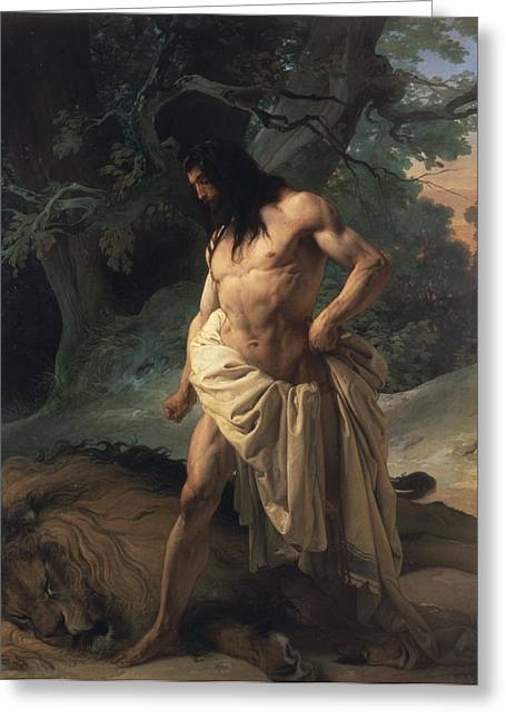 Male Torso Greeting Cards - Samson Slays the Lion Greeting Card by Francesco Hayez