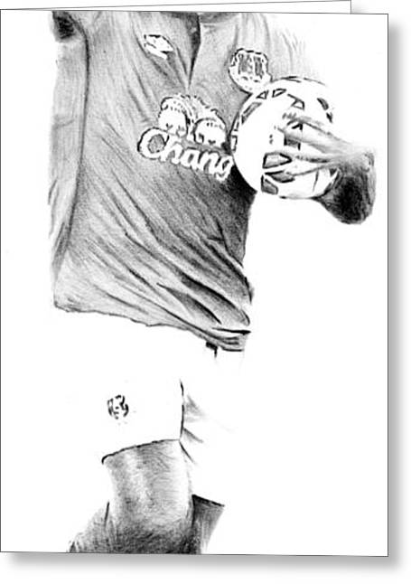 Player Drawings Greeting Cards - Samual Etoo Greeting Card by Mike Bruce